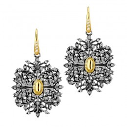 SYNA-18k yellow gold 925 oxidized silver earrings