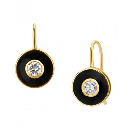 SYNA JEWELS 18KYG CHAMPAGNE DIAMOND BLACK ENAMEL DISC EARRINGS