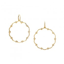 SYNA 18K Yellow Gold Champagne Diamond Mogul Flower Earrings