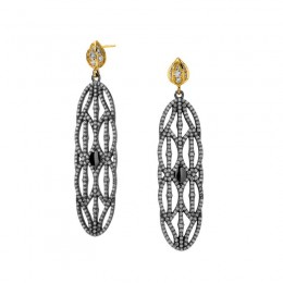 SYNA 18K Yellow Gold & Oxidized Silver Large Champagme Earrings
