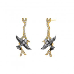 SYNA 8K Yellow Gold 925 Oxidized Silver Swallow Earrings