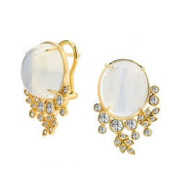 SYNA JEWELS MOON QUARTZ & CHAMPAGNE DIAMOND EARRINGS
