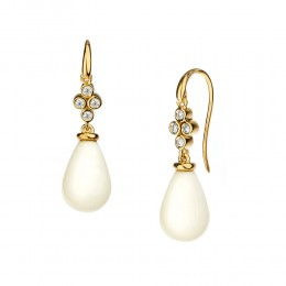 SYNA 18k White Agate Drop Earrings With Champagne Diamonds