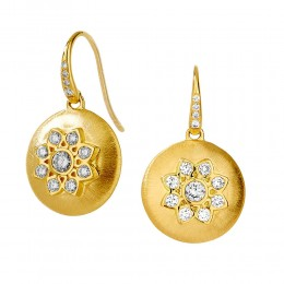 SYNA 18K Yellow Gold Flower Earrings With Champagne Diamonds