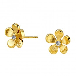 SYNA 18K Yellow Gold Flower Studs