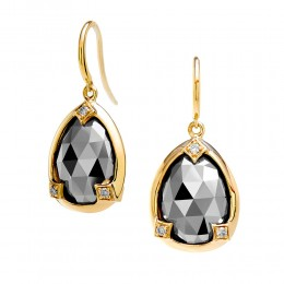 SYNA 18K Yellow Gold Pyrite Rosecut Earrings With Champagne Diamonds