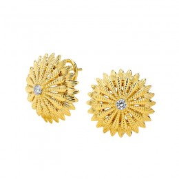 SYNA 18kyg flower clip-back earrings with
