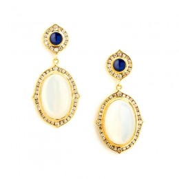 SYNA 18 karat yellow gold Kamala earrings with moon quartz on mother of pearl(appx 9cts), blue sapphires(appx .5 cts) and champagne diamonds(appx. .7 cts).