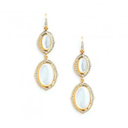 SYNA 18kyg Kamala earrings in moon quartz on mother of pearl approximately 12 carats and diamonds approximately1 carat.