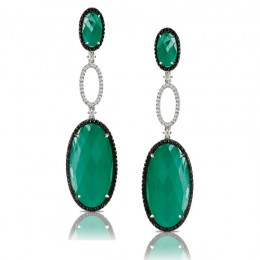 18K White Gold Diamond Earring With Black And White Diamond And White Topaz Over Green Agate