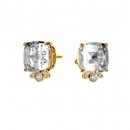 SYNA Mogul Rock Crystal Diamond Earrings