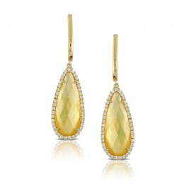 18K Yellow Gold Diamond Earring With Citrine Over White Mother Of Pearl. No Diamonds On U-Tops