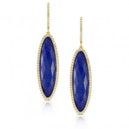 18K Rose Gold Diamond Earring With Clear Quartz Over Lapis