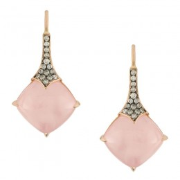 18K Rose Gold Diamond Earring With Brown Diamond In Pink Quartz