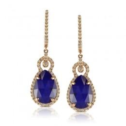 18K Rose Gold Diamond Earring With White Topaz Over Lapis