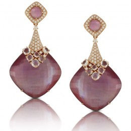 18K Rose Gold Diamond Earring With Amethyst Over Pink Mother Of Pearl