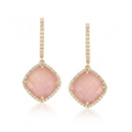 18K Rose Gold Diamond Earring With Rose Quartz Over Pink Mop