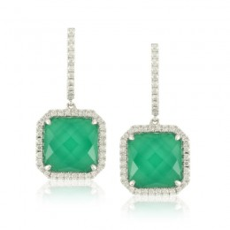 18K White Gold Diamond Earring With White Diamond And White Topaz Over Green Agate