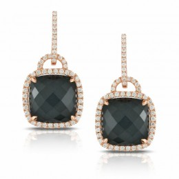 18K Rose Gold Diamond Earring With White Topaz Over Hematite. Checkerboard Cut.