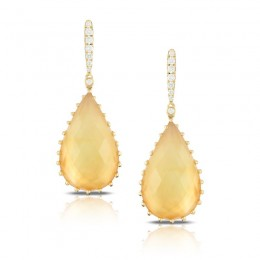 18K Yellow Gold Diamond Earring With Citrine Over White Mother Of Pearl