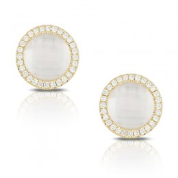 18K Yellow Gold Diamond Earring With Clear Quartz Over White Mother Of Pearl