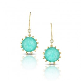 18K Yellow Gold Diamond Earring With Clear Quartz Over Amazonite