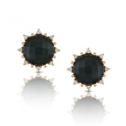 18K Rose Gold Diamond Earring With Clear Quartz Over Hematite