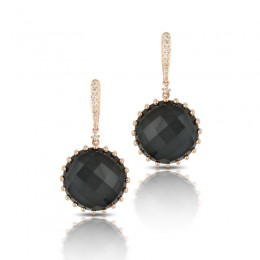 18K Rose Gold Diamond Earrings With Clear Quartz Over Hematite