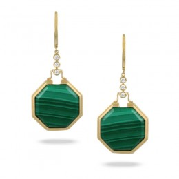 18K Yellow Gold Diamond Earring With Malachite With Satin Finish