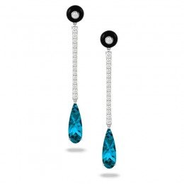 18K White Gold Diamond Earring With Black Onyx And London Blue Topaz