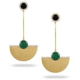 18K Yellow Gold Diamond Earring With Black Onyx Top And Malachite Bottom In Satin Finish