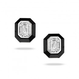 18K White Gold Invisible Set Diamond Earring With Black Onyx Borders
