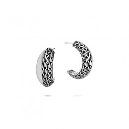 Classic Chain Silver Knife Edge Hoop Earrings (Dia 19.5mm)