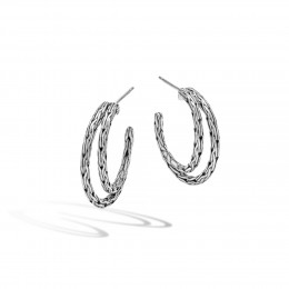Classic Chain Small Hoop Earring in Silver