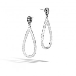 Classic Chain Hammered Silver Teardrop Earrings