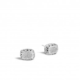 Classic Chain 12MM Stud Earring in Silver with Diamonds