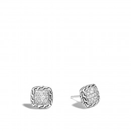 Classic Chain 9.5MM Stud Earrings in Silver with Diamonds