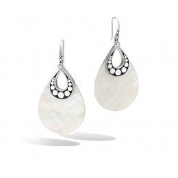 Dot Drop Earring in Silver with Mother of Pearl