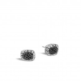 Classic Chain 12MM Stud Earring in Silver with Gemstone