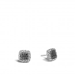 Classic Chain 9.5MM Stud Earring in Silver with Gemstone