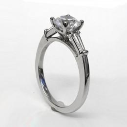 Platinum tapered baguette engagement ring semi-mount.