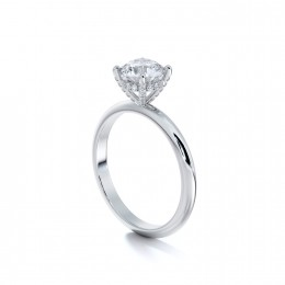 Platinum engagement ring semi-mount with a pave-set four-prong