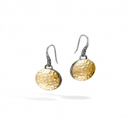 Dot Drop Earring in Silver and Hammered 18K Gold