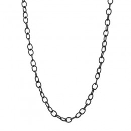 SYNA 30 inch oxized grey sterling silver chain with lobster clasp.