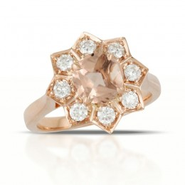 18K Rose Gold Diamond Ring With Morganite Center Stone
