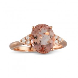 18K Rose Gold Diamond Ring With Morganite Center
