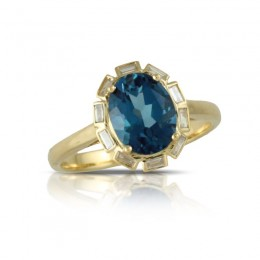18K Yellow Gold Diamond Ring With London Blue Topaz