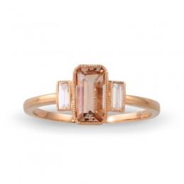 18K Rose Gold Diamond Ring With Morganite Center