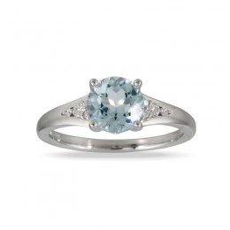 18K White Gold Diamond Ring With Sky Blue Topaz