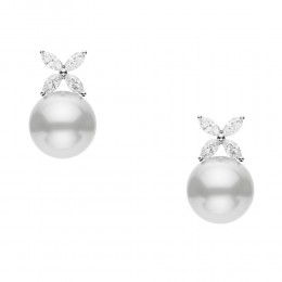 Mikimoto White South Sea Pearl and Diamond Earrings